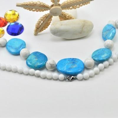 Colar de pedras Howlita Azul (Turquesa) e Jade