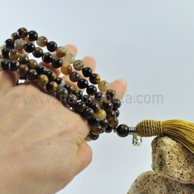 Mala Budista de Pedra Olho de Tigre 8mm - Terço Tibetano OM