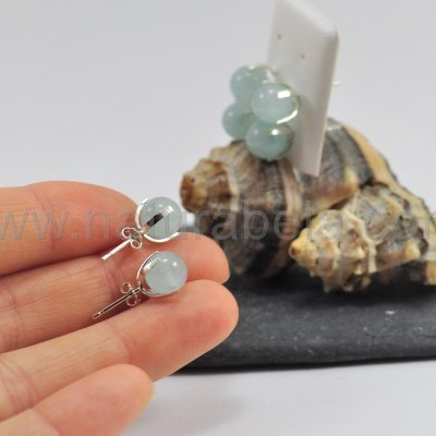 Brincos em prata com Bola de Água marinha