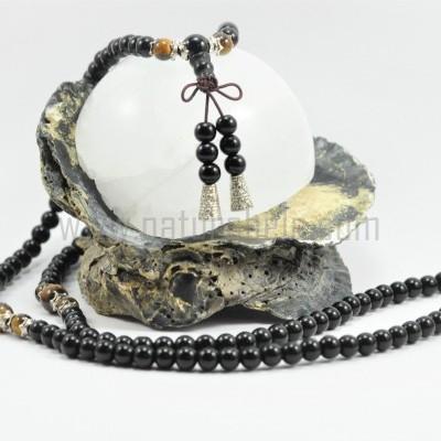 JapaMala de Obsidiana negra e Olho de tigre