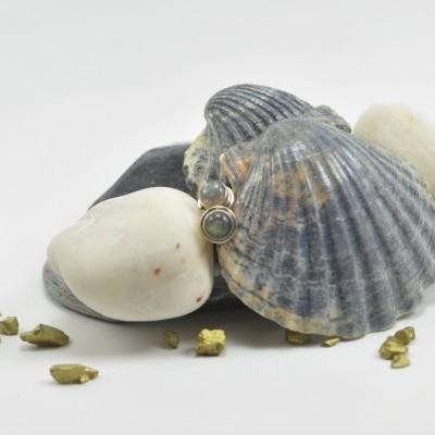Brincos em Prata com pedra Labradorite