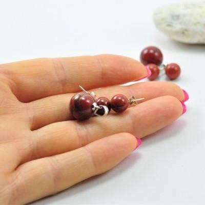 Pendente e Brincos em Pedras Naturais Jaspe Vermelho