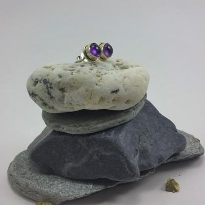 Brincos em Prata com pedra Ametista