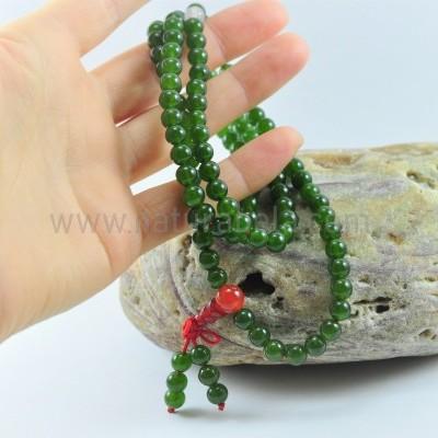 JapaMala Tibetano de Jade Verde, Carneola e Quartzo Rosa