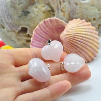 Pendente coração de quartzo rosa