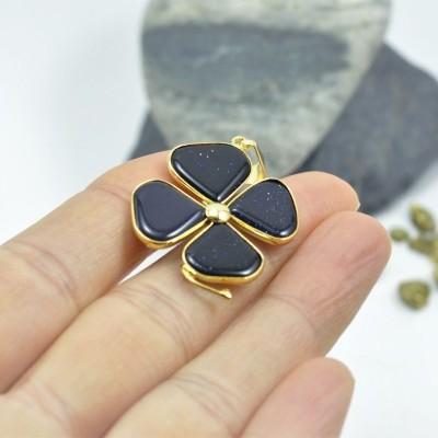 Trevo dourado com Pedra de Ouro Lilás