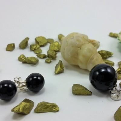Conjunto Pendente e Brincos em Pedras Naturais de Onix