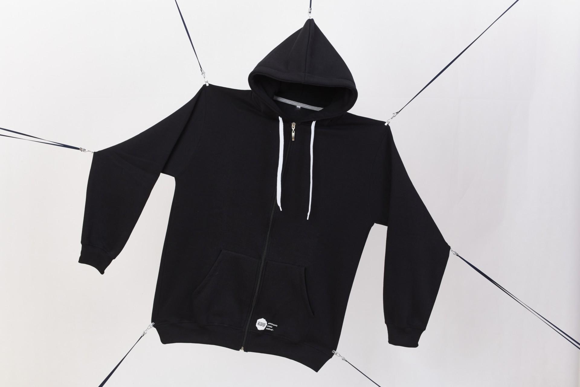 Black hoodie white logo