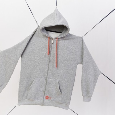 Grey hoodie orange logo