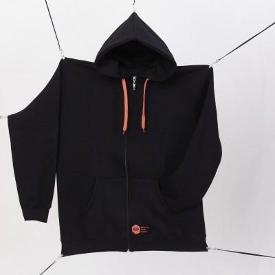 Black hoodie orange logo