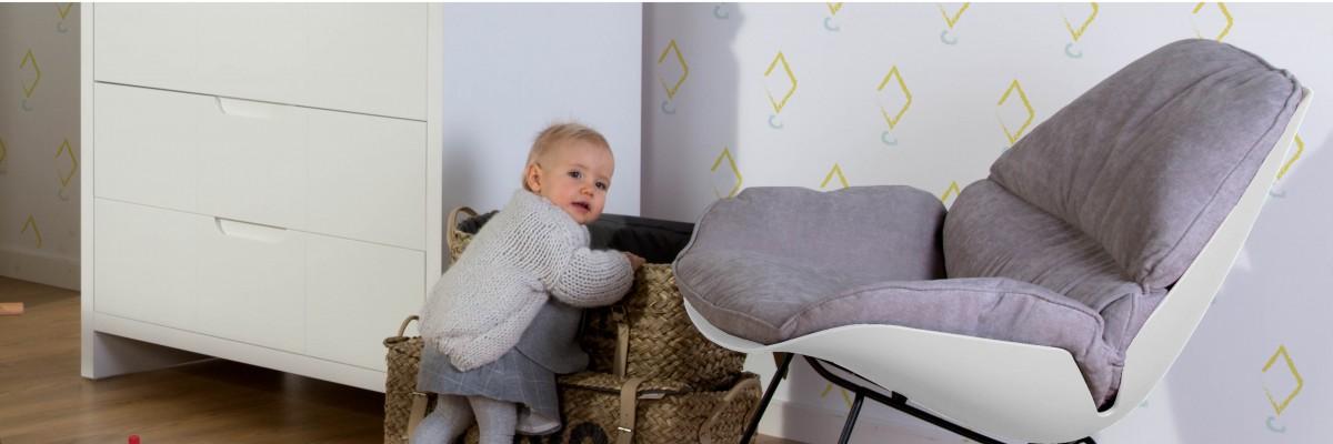 Cadeira de Baloiço Branco + Cinza