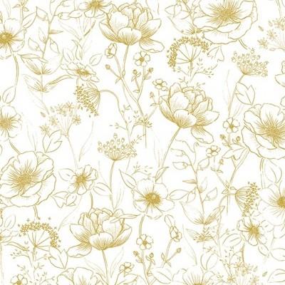 Papel de Parede Flores Dourado