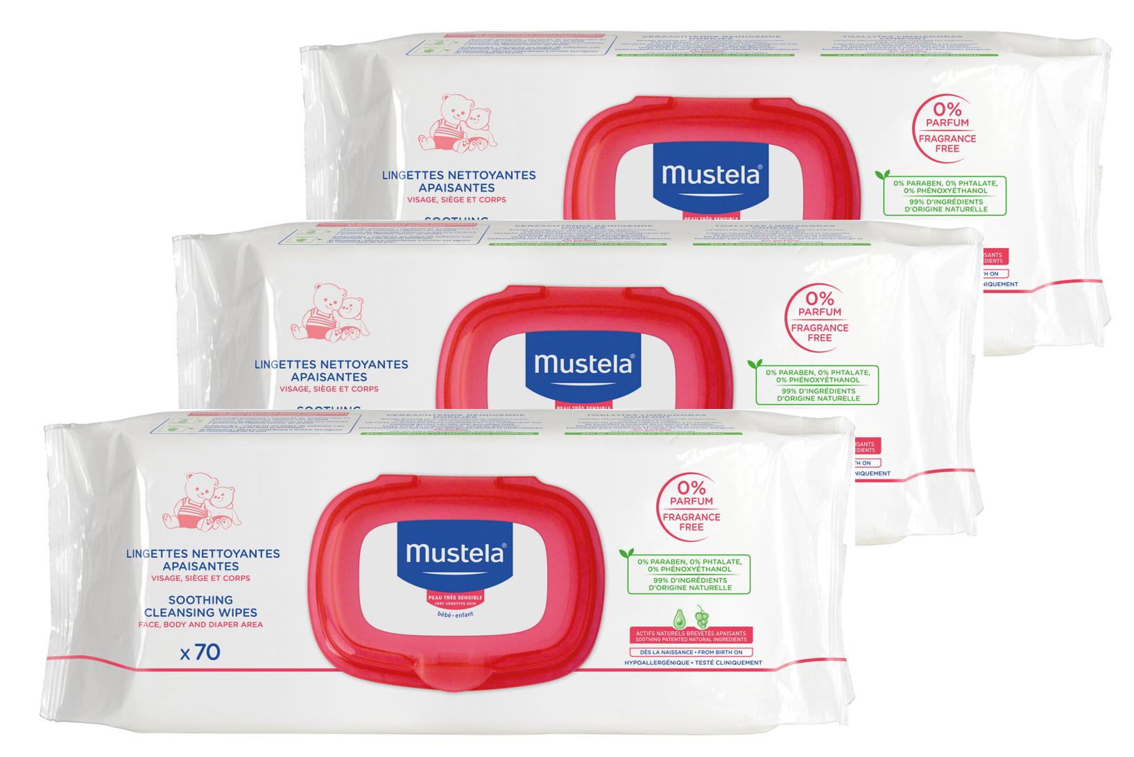 Mustela - Toalhetes de Limpeza Sem Perfume 3x70 unidades