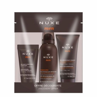 Nuxe Men - Kit de Viagem Gel Douche + Gel Barbear + Gel Multifunções Hidratante 30+35+15ml