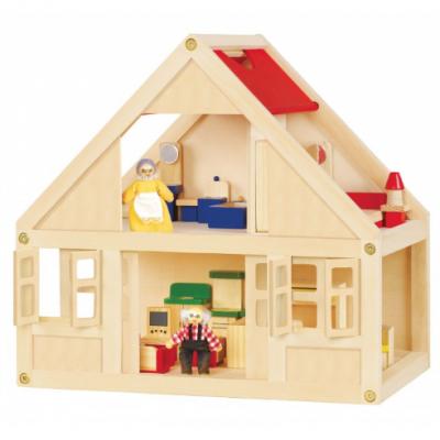 Casa de boneca equipada em madeira