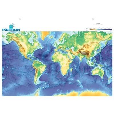 Planisfério com relevo e fundo dos oceanos