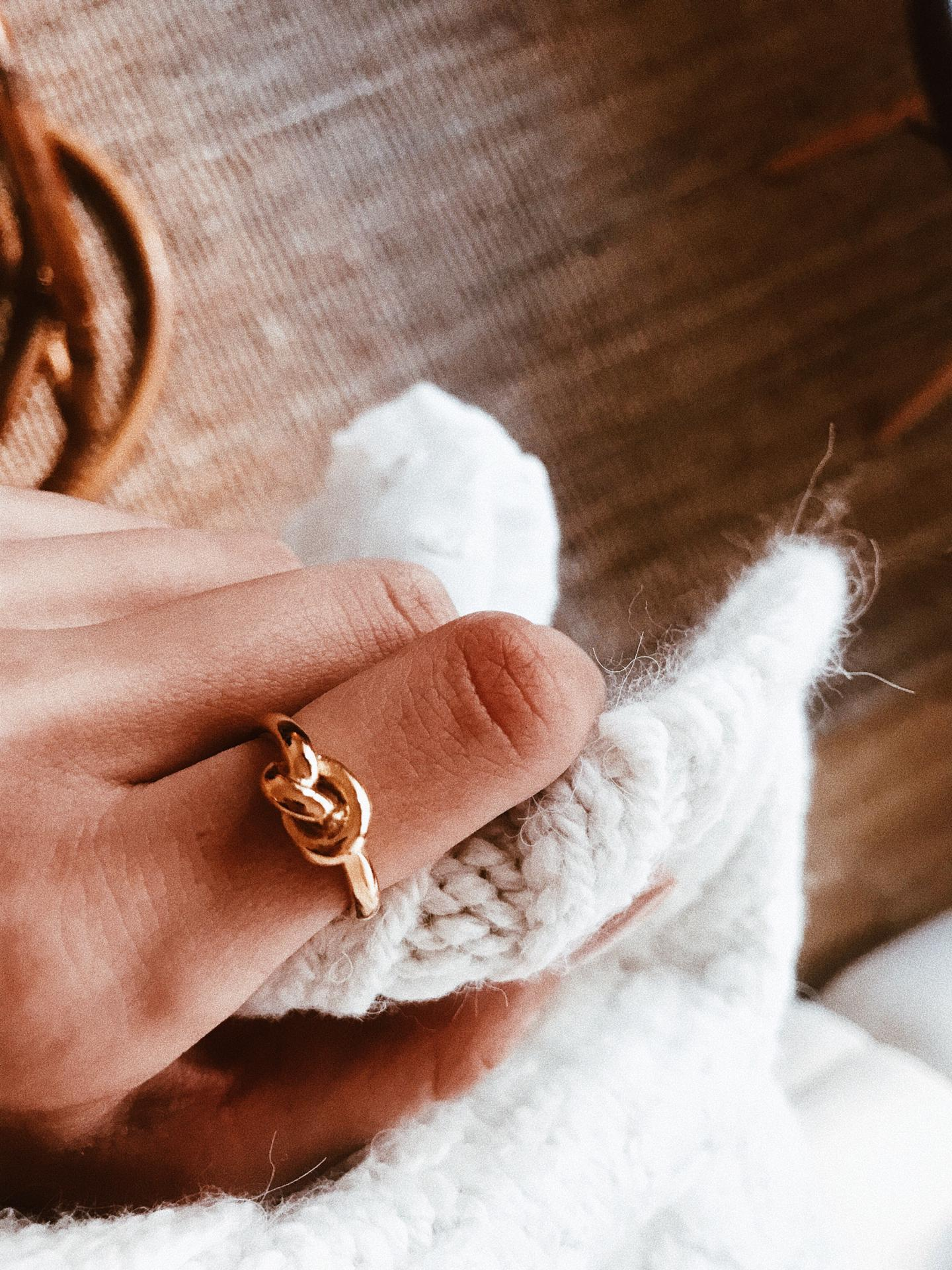Anel em aço - Gold Knot