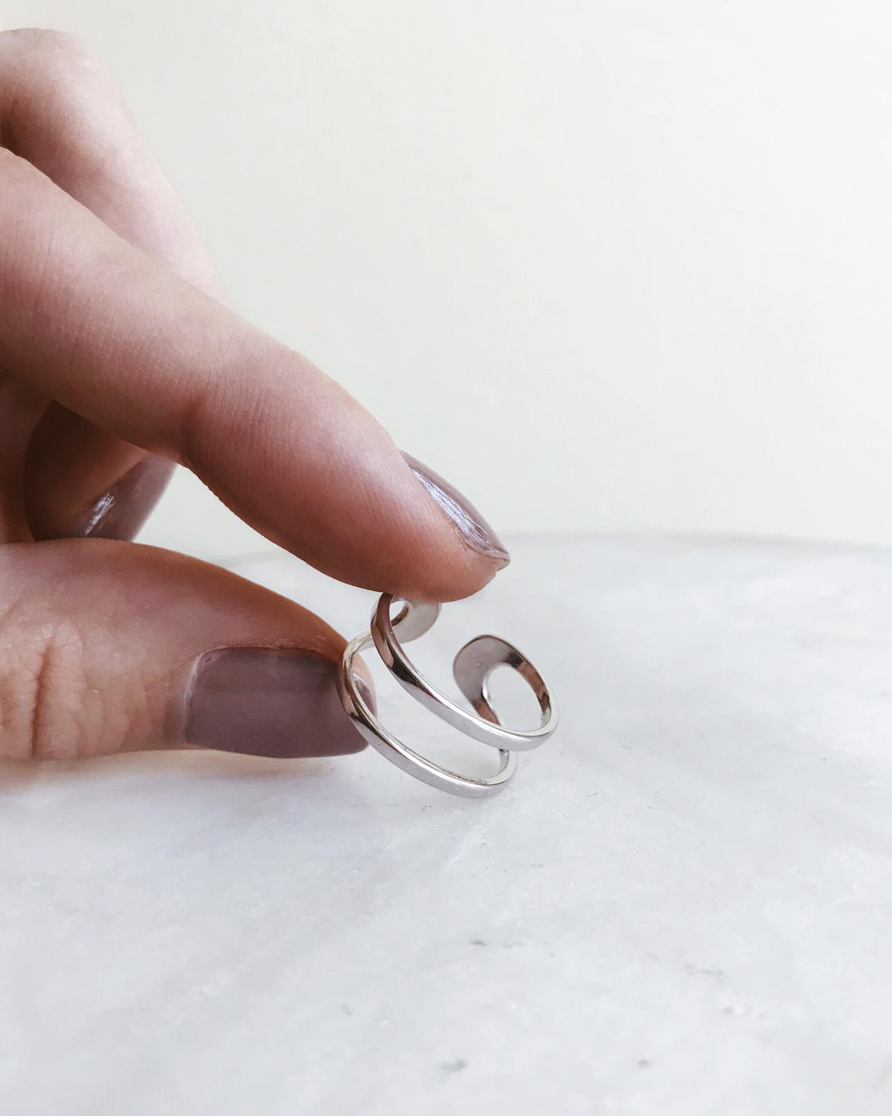 Anel em prata - Double Line