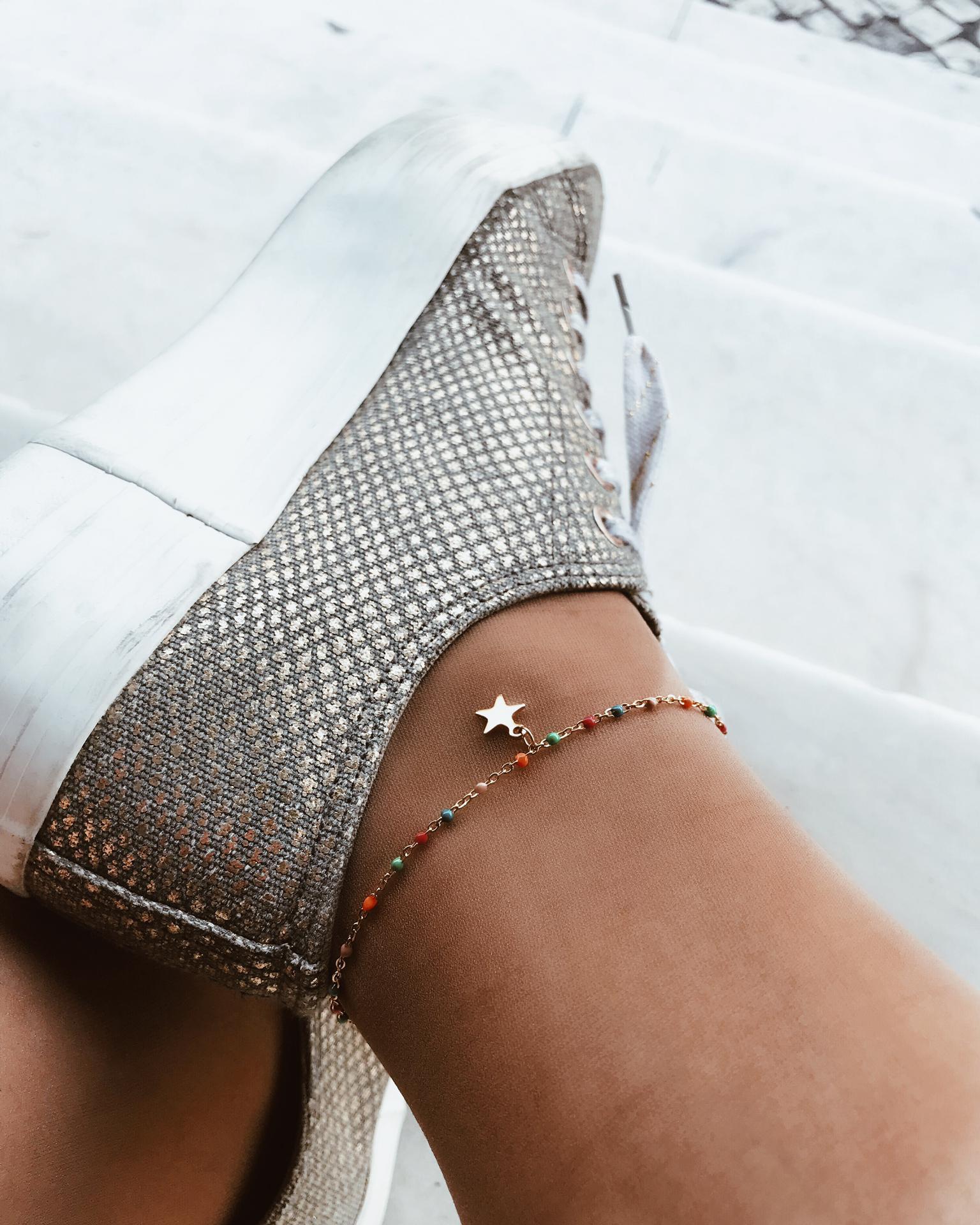 Pulseira para o pé em aço - Colour Star