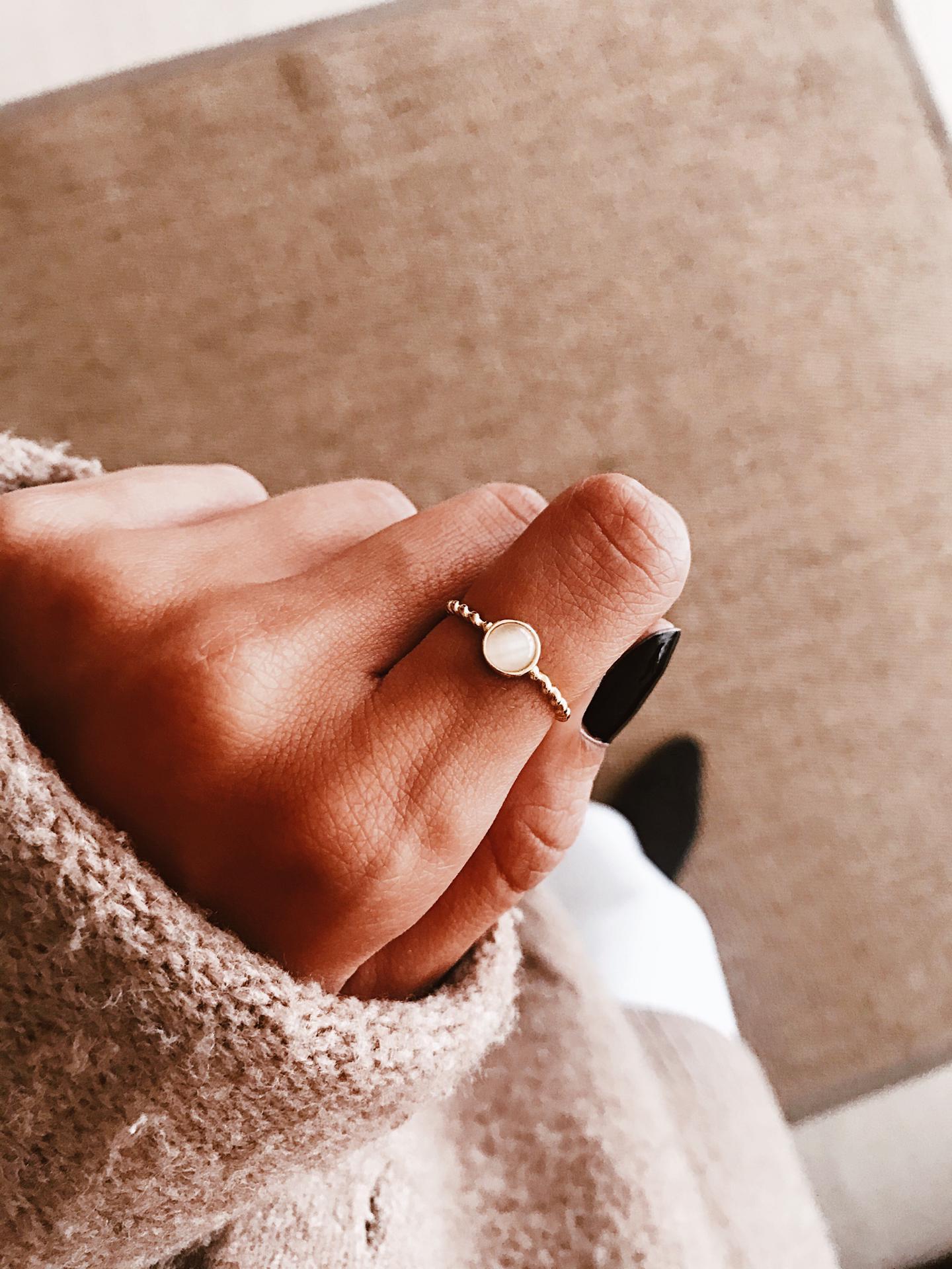 Anel em prata dourada - Stone