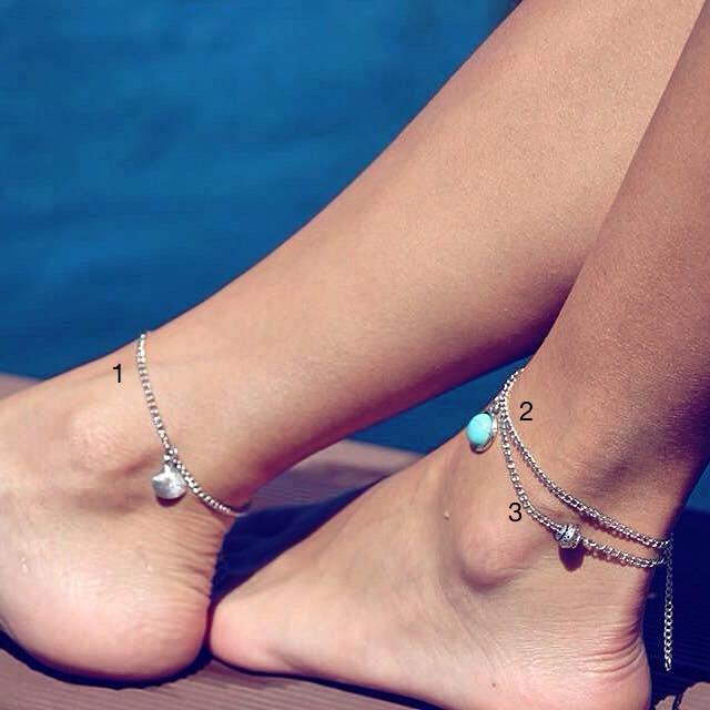 Pulseira para o pé - Simples com pendentes
