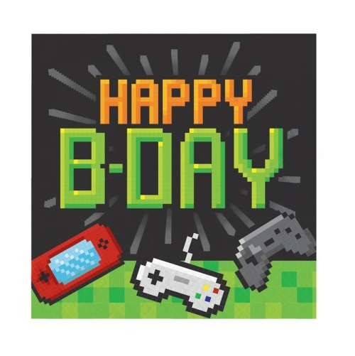 guardanapos gaming happy b day - decoracao de aniversario tema fortnite