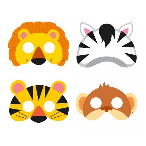 Conj. 8 Máscaras Animais Selva