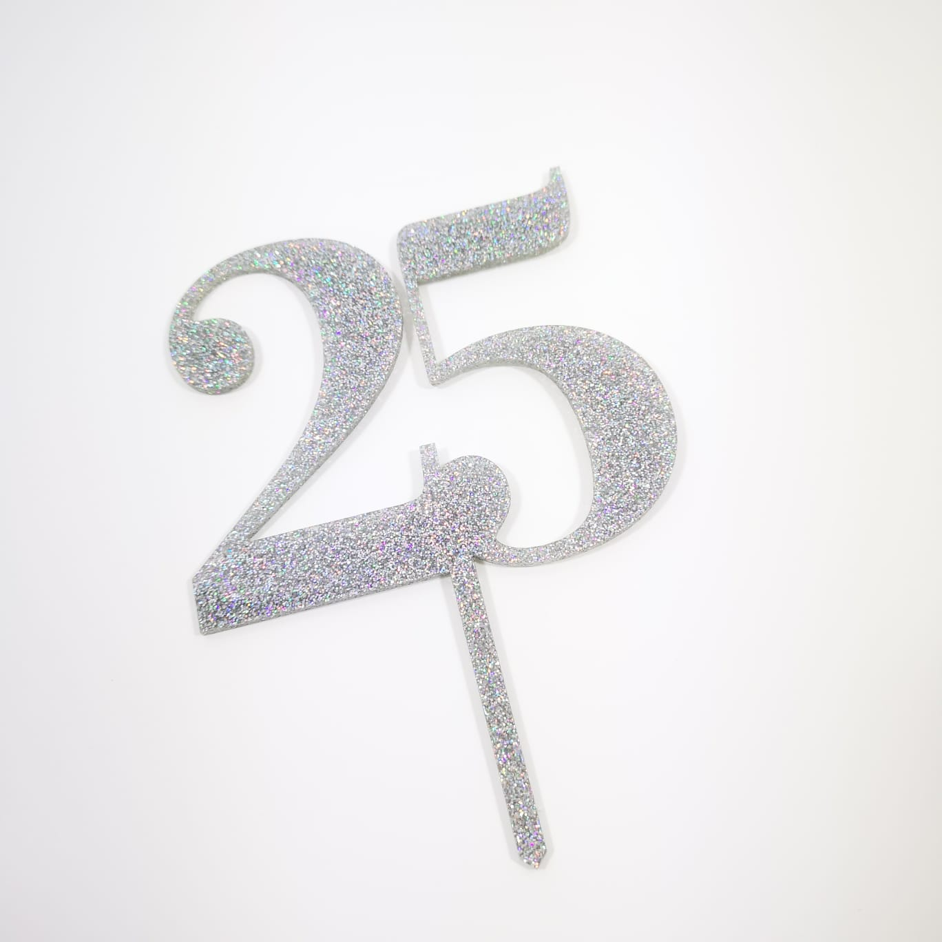 Topo Bolo 25 Prateado Glitter