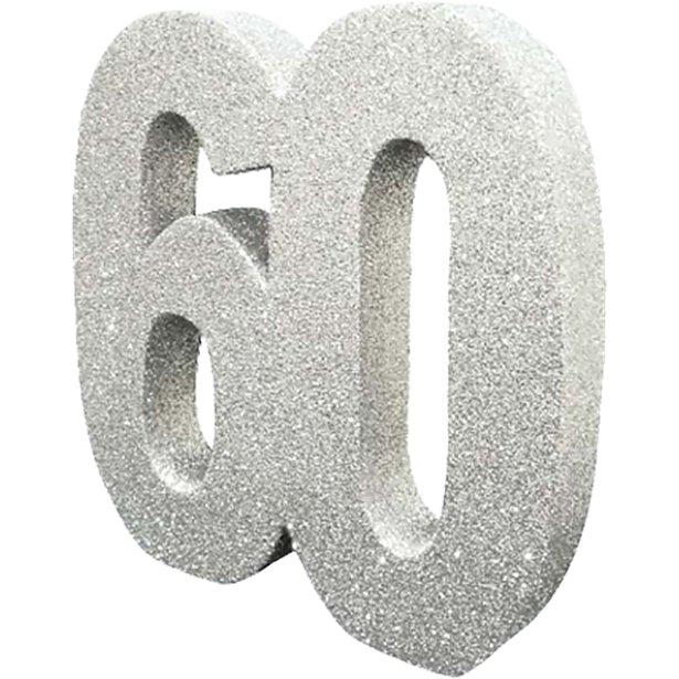 Decoração 60 Glitter Prateado