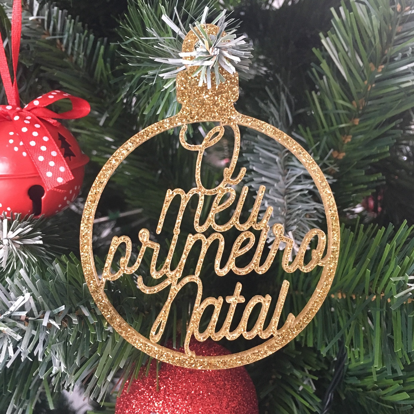 Bola Natal Frases Glitter Dourada