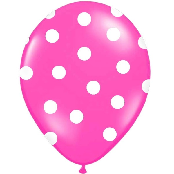 Conj. 6 Balões Bolinhas Rosa Forte