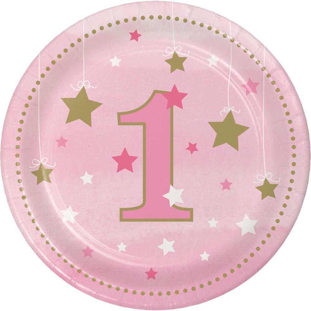 Pratos 1º Aniversário Estrela Rosa
