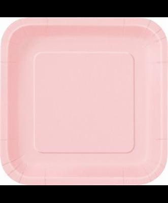 Pratos Rosa Claro Quadrados