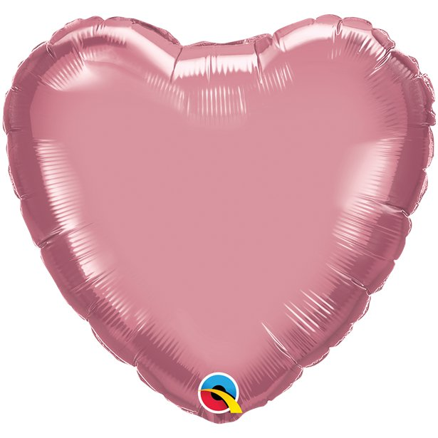 Balão Coração Rosa Cromado
