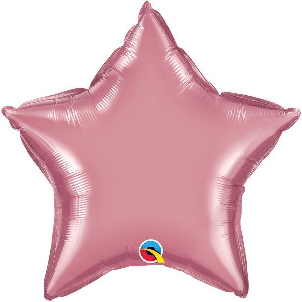 Balão Estrela Rosa Cromado