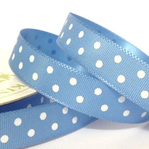 Fita Azul Cetim Bolas 10mm