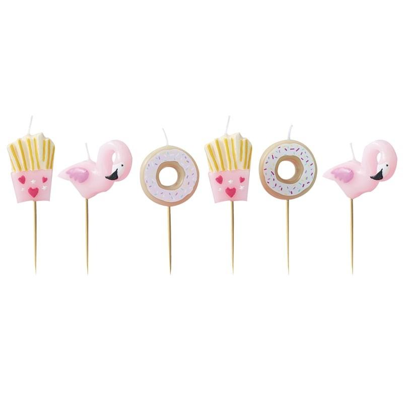Conj. 6 Velas 3D Flamingo e Donuts