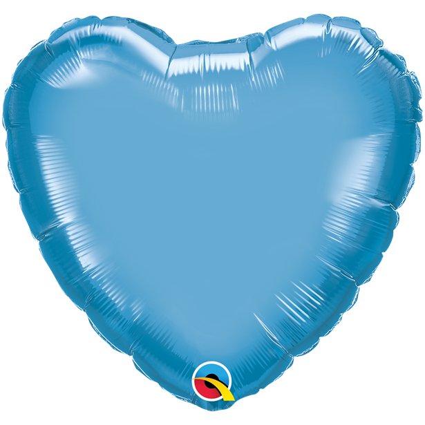 Balão Coração Azul Cromado
