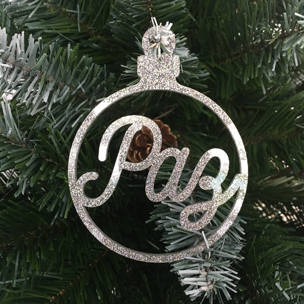 Bola Natal Frases Glitter Prateada