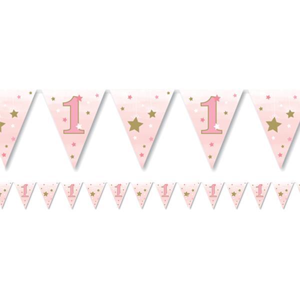 Bandeirolas 1º Aniversário Estrela Rosa