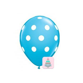 Conj. 10 Balões Bolinhas Azul Claro