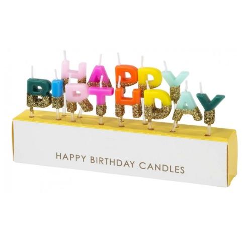 Velas Happy Birthdays Rainbow Gold
