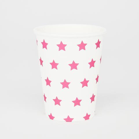 Copos Rosa Forte Estrelas