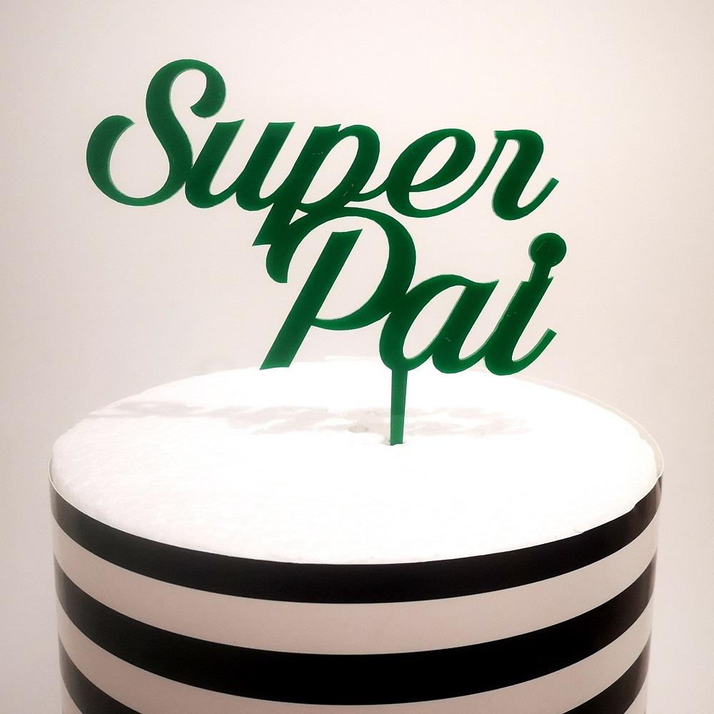 Topo Bolo Super Pai Verde