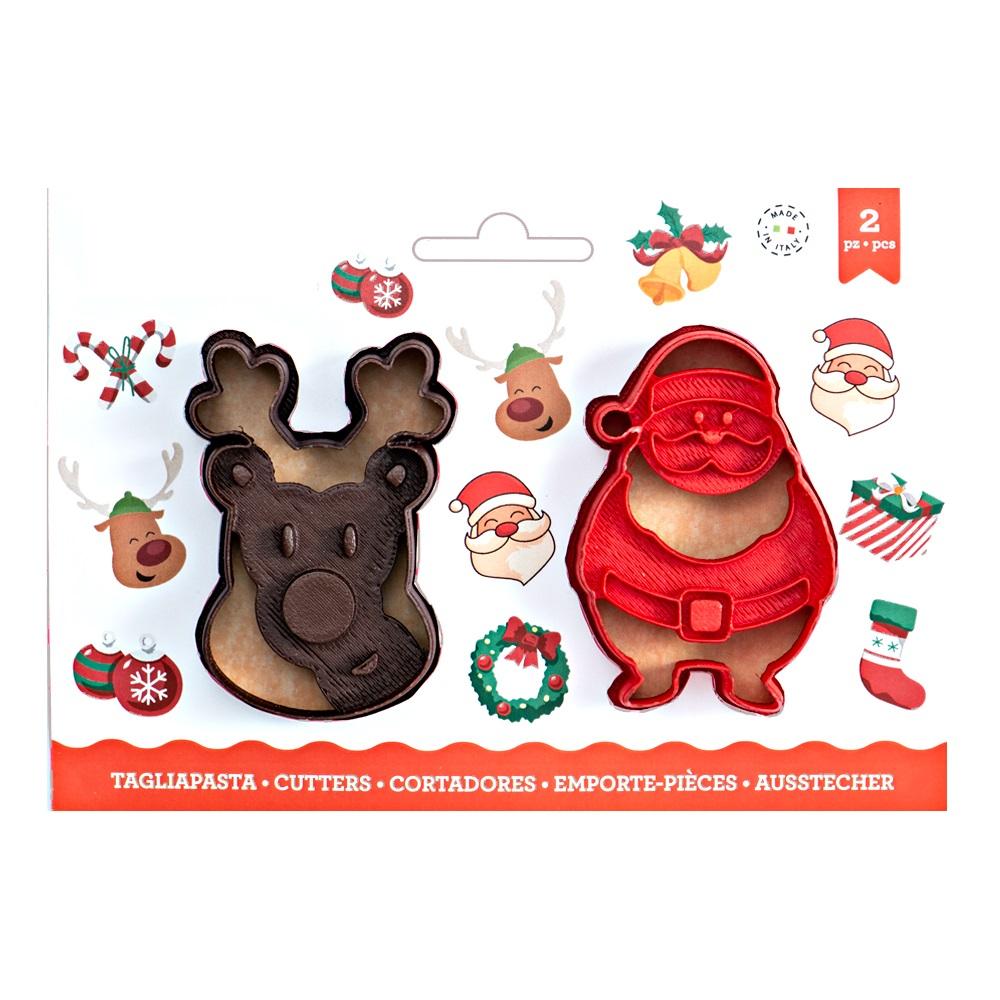 Conj. 2 Cortadores Rena e Pai Natal