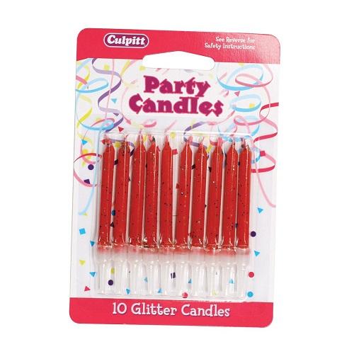 Velas Simples Vermelha com Glitter