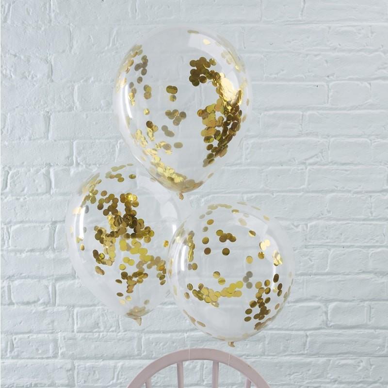 Conj. 5 Transparentes com Confetis Dourados