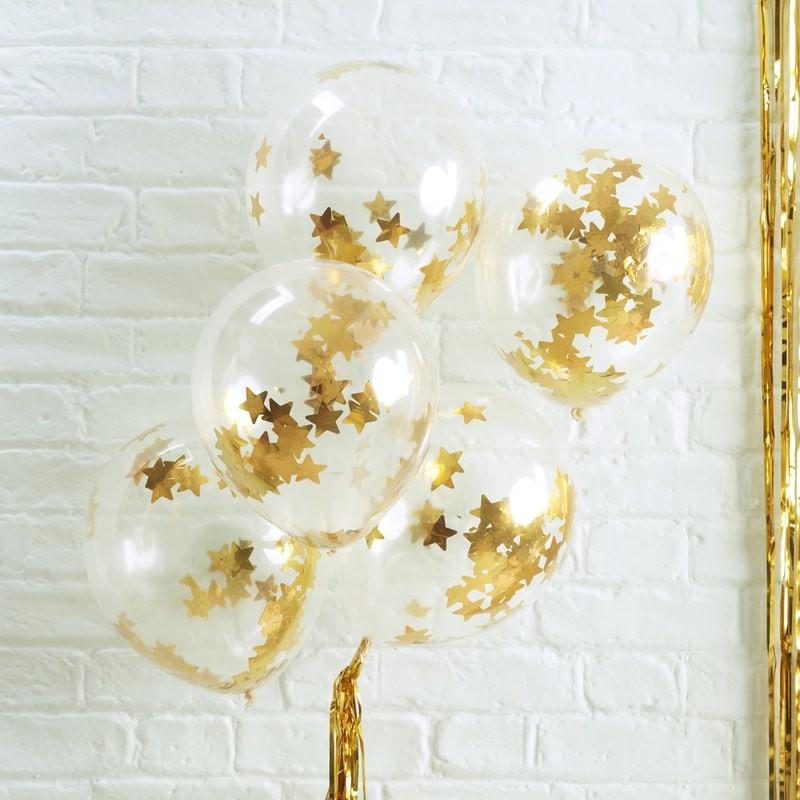 Conj. 5 Transparentes com Confetis Dourados Estrelas