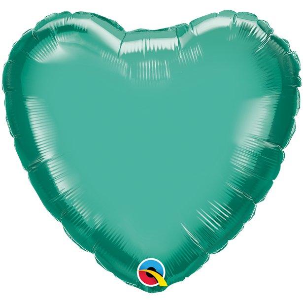 Balão Coração Verde Cromado