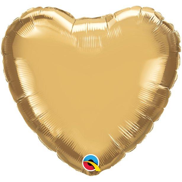 Balão Coração Dourado Cromado